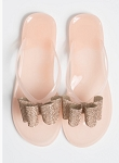 Thong Jelly Sandal w/ bling bow- pink