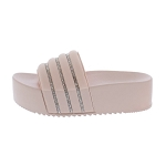 Pink Platform Slide In Sandals w/ rhinestones
