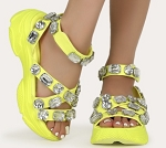 Lime Jeweled Sneaker Sandal