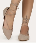 Pointed Tie Up Ballet Flat