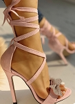 Glitter Bow Tie Up Sandal