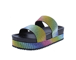 Multicolor Bling Platform Slide In