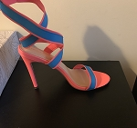 Blue/Peach Colorblock heel