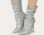 Slouch Sequin Boot- Silver