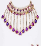 Purple and Gold Dangling Necklace Set