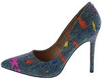 Denim Splatter Print Heel