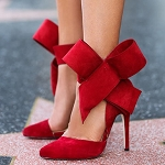 Large Ankle Bow Heel -Red