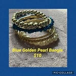 Blue Golden Pearl Bangles