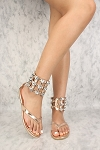 Rhinestone Metallic Thong Sandal- Rose Gold