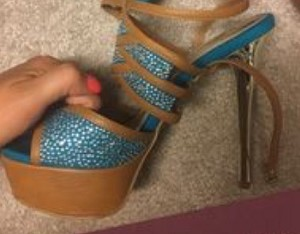 Bakers Shoes-Turquoise and Brown Heel with Silver Heel
