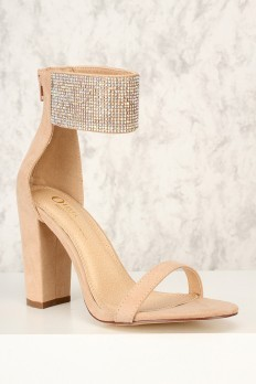 Camel Rhinestone Accent Strap Sandal with Chunky Heel