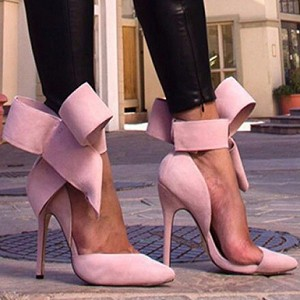 Large Ankle Bow Heel -Pink